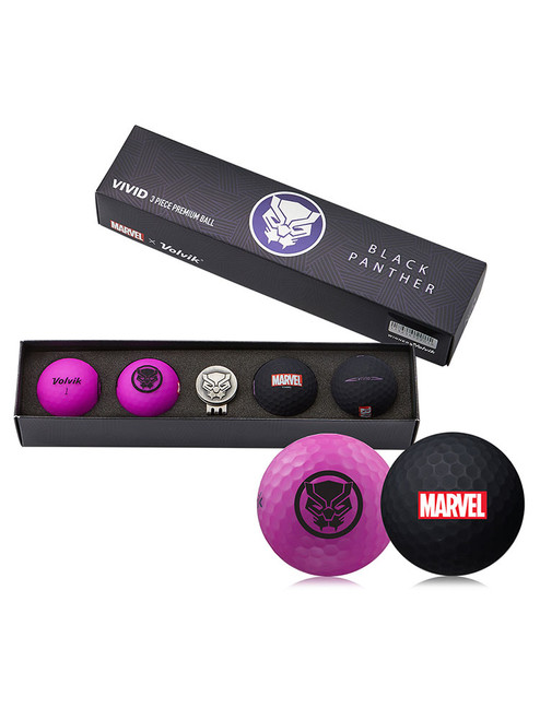 Volvik Marvel Golf Balls & Marker - 4 Pack Black Panther