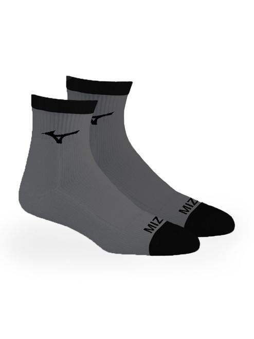 Mizuno 1/4 Crew Fitted 2 Pack Socks - Grey