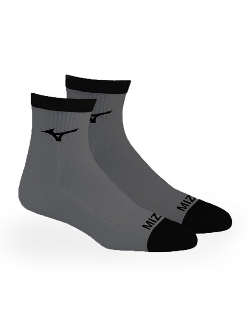 Mizuno 1/4 Crew Fitted 2 Pack Socks - Grey