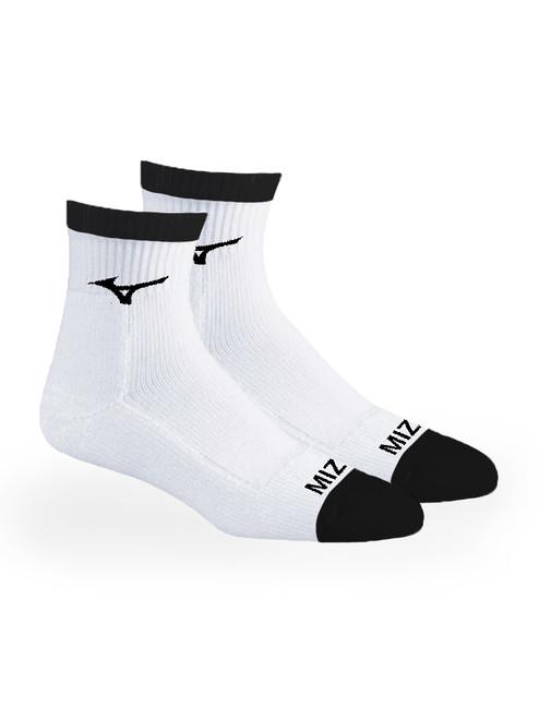 Mizuno 1/4 Crew Fitted 2 Pack Socks - White