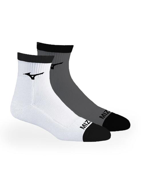 Mizuno 1/4 Crew Fitted 2 Pack Socks - White/Grey