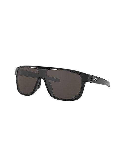 Oakley Crossrange Shield Sunglasses - Polished Black w/ Prizm Grey