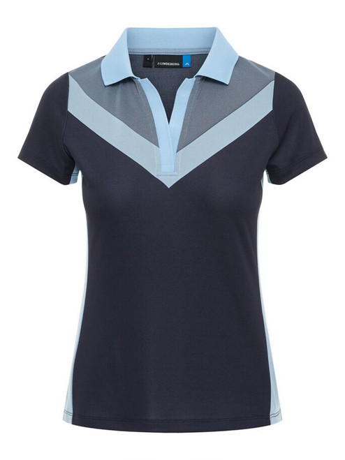 J.Lindeberg W Lilly TX Jaquard Polo - JL Navy/Baby Whisper
