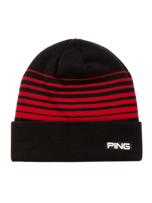 Ping Stripe Knit Beanie - Black/Red
