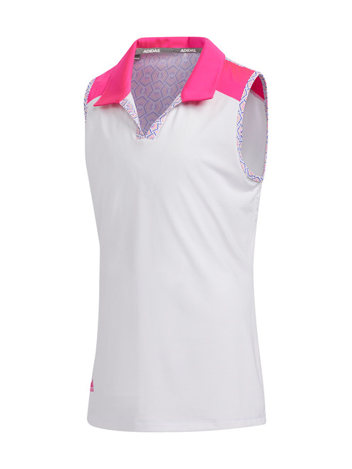 Adidas JR Girls Printed Colourblock Polo - Shock Pink