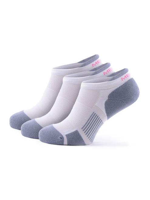 Meikan 3 Pack Womens Low Cut Coolmax Technical Sports Socks - White/Grey