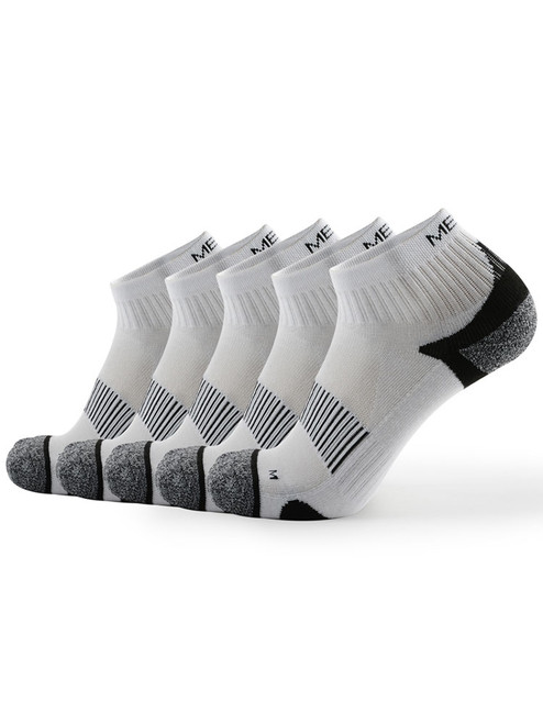 Meikan 5 Pack Quarter Cut Performance Sports Socks - White/Black