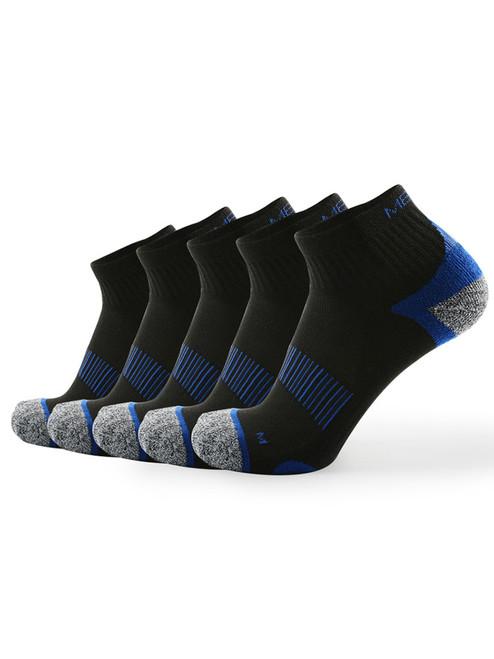 Meikan 5 Pack Quarter Cut Performance Sports Socks - Black/Dark Blue