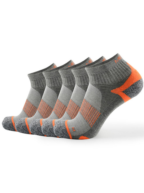 Meikan 5 Pack Quarter Cut Performance Sports Socks - Grey/Orange
