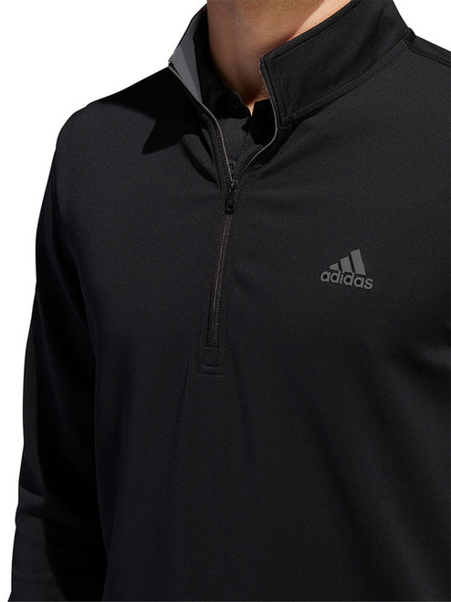 Adidas 3-Stripes Midweight Layering 1/4 Zip - Black/Grey Three