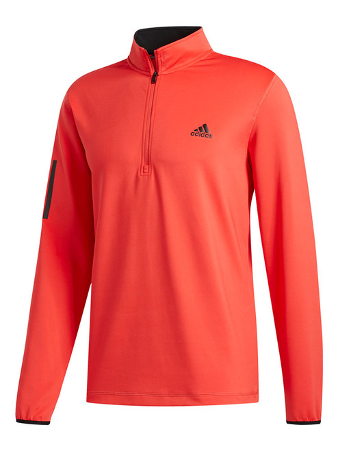 Adidas 3-Stripes Midweight Layering 1/4 Zip - Real Coral/Black