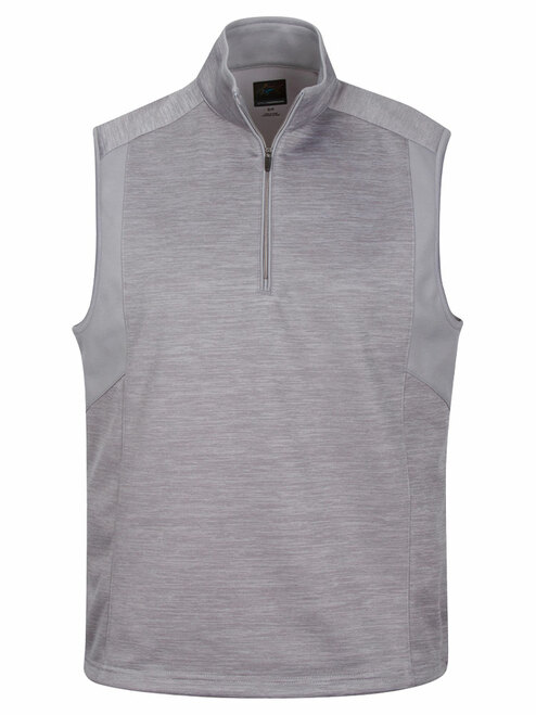 Greg Norman 1/4 Zip Heathered Fleece Vest - Stirling Heather