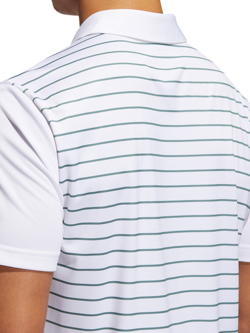Adidas Core Novelty Striped Polo Shirt - White/Tech Emerald/Pint Tint