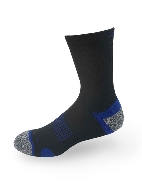Meikan 3 Pack Crew Cut Performance Sports Socks - Black/Dark Blue