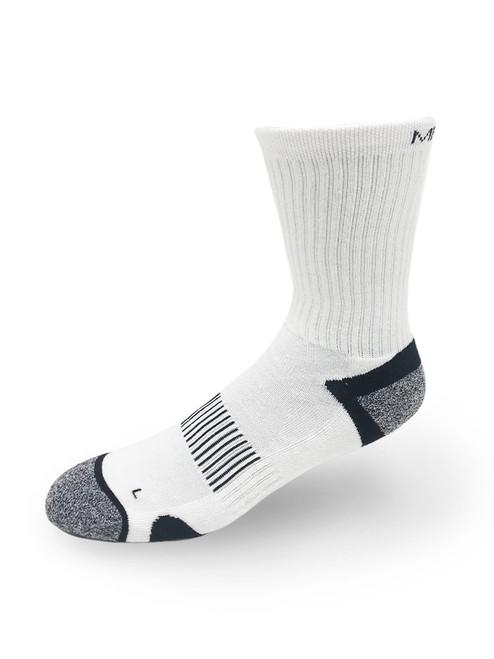 Meikan 3 Pack Crew Cut Performance Sports Socks - White/Black