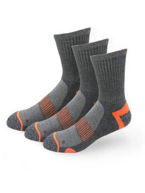 Meikan 3 Pack Crew Cut Performance Sports Socks - Grey/Orange