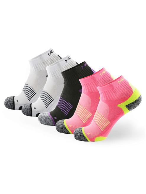 Meikan 5 Pack Women's Quarter Cut Performance Sports Socks - Multi