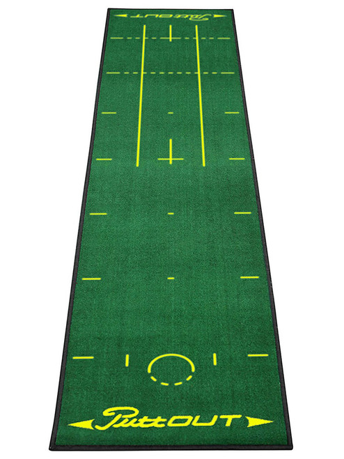 Major Inspired Puttout Pro Golf Putting Mat - Green/Yellow