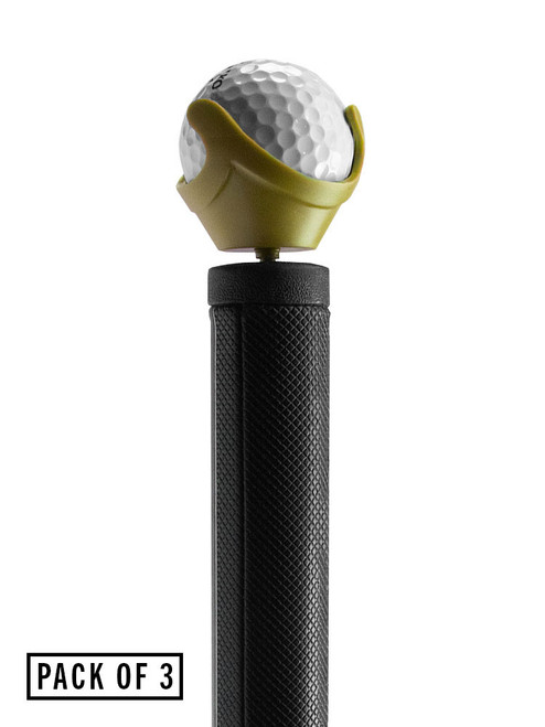 Golf Pik Combo Ball Pick-up and Holder - 3 Pack Gold