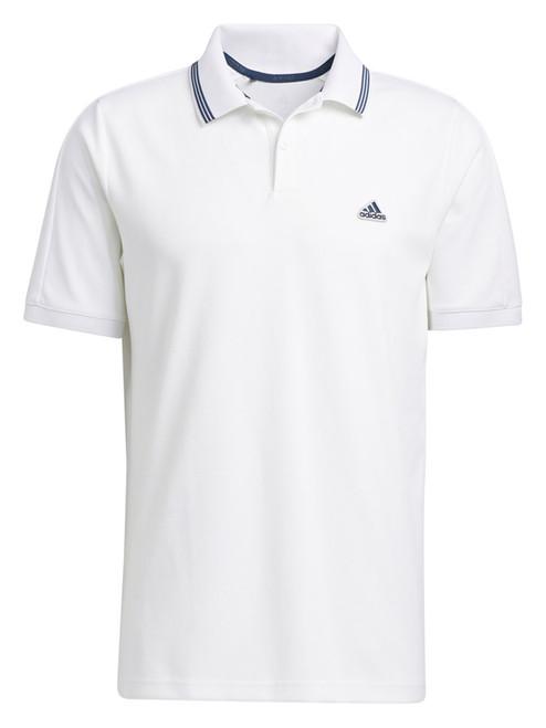 adidas Go-To Primegreen Pique Polo Shirt - White/Crew Navy