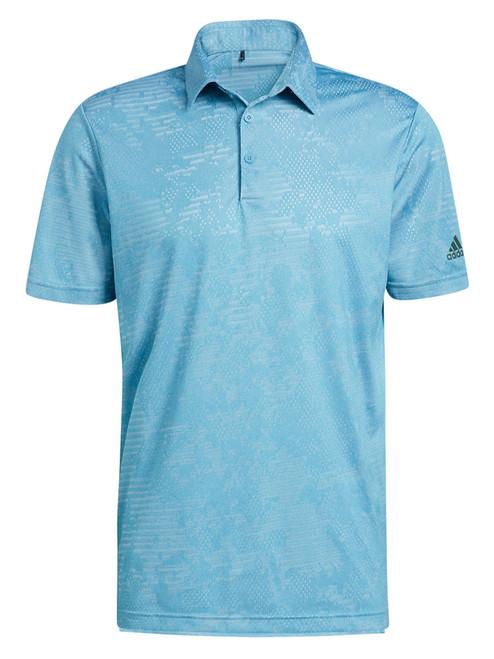 adidas Camo Polo Shirt - Hazy Blue/White
