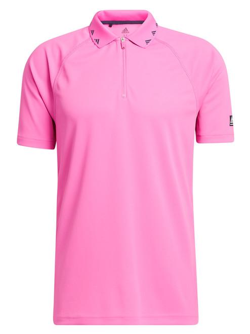 adidas Equipment Zip Piqué Polo Shirt - Screaming Pink