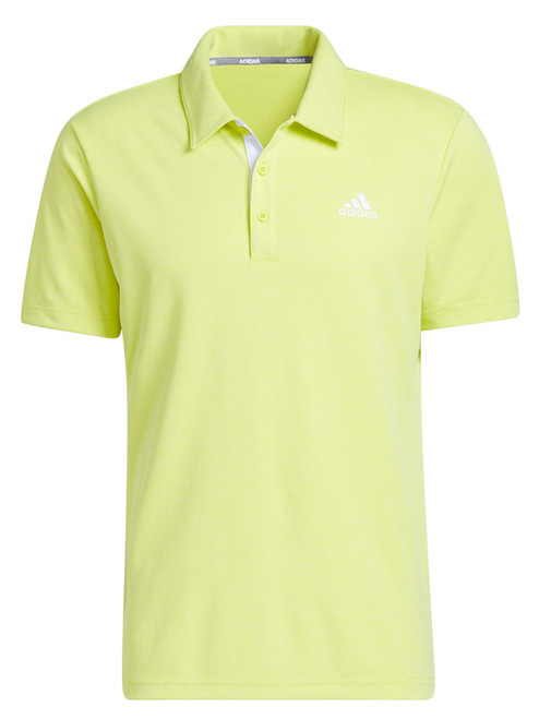 adidas Advantage Novelty Heathered Polo Shirt - Acid Yellow