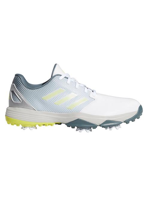adidas JR ZG 21 Golf Shoes - FTWR White/Acid Yellow/Blue Oxide
