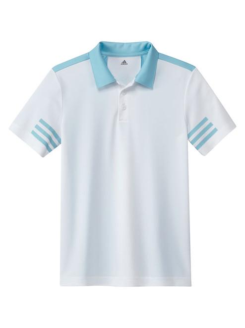 adidas JR 3-Stripes Colorblock Polo Shirt - White