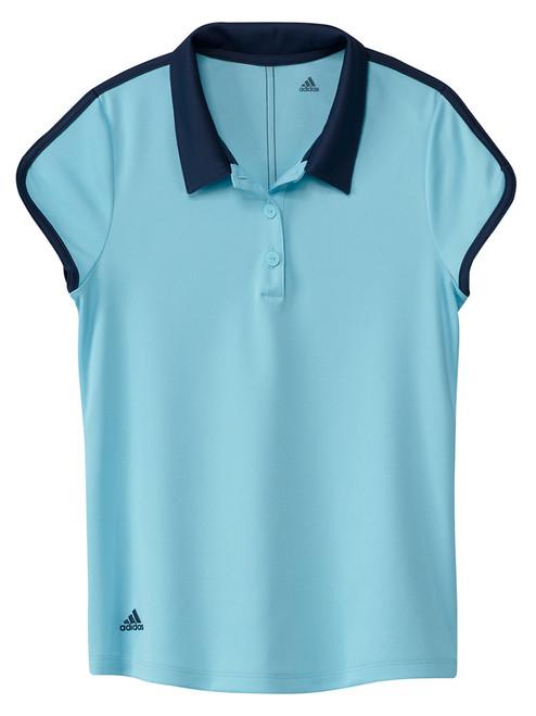 adidas JR Girls' Colorblock Polo Shirt - Hazy Sky