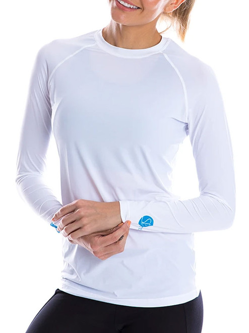 SParms Women's Body Round Neck Sun Protection - White