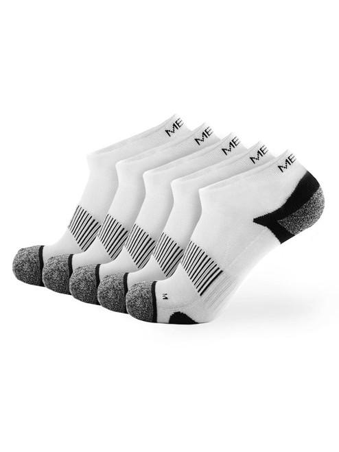 Meikan 5 Pack Low Cut Performance Sports Socks - White/Black