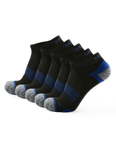 Meikan 5 Pack Low Cut Performance Sports Socks - Black/Dark Blue