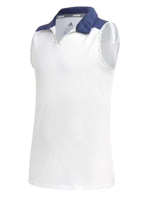 adidas JR Girls Printed Colourblock Polo - Tech Indigo