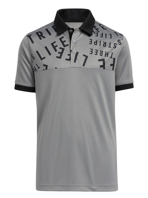 adidas JR Boys Three Stripe Life Print Primegreen Polo Shirt - Grey Three
