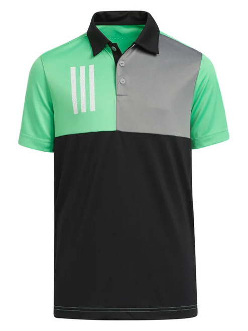 adidas JR Boys 3-Stripes Chest Primegreen Golf Polo Shirt - Black