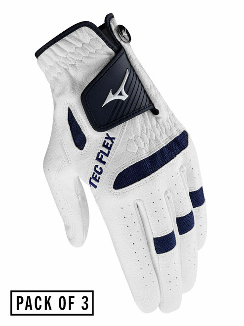 Mizuno TecFlex Pack Of 3 Ladies Golf Gloves - White