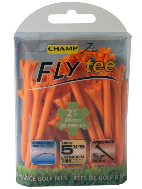 CHAMP Fly Tees 30 Pack 2.75 Inch Orange