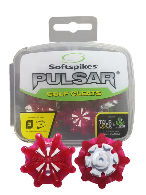SoftSpikes Pulsar Golf Cleats Tour Lock Red