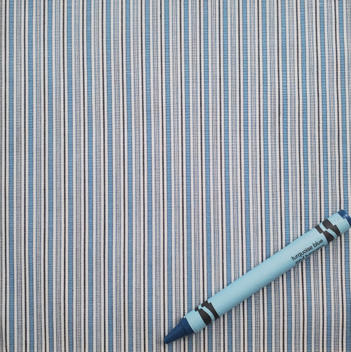 """S3: Turquoise and White Stripes, 100% Cotton Shirting 45"""" wide. $7.99 per half yard"""