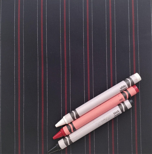 """S4: Red, Black and White, 100% Cotton Shirting, 45"""" wide. $7.99 per half yard."""