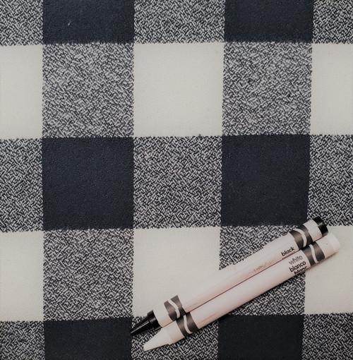 "P13: Antique Black/Off White, Organic Flannel Plaid, 100% Cotton, 44"" wide. $8.99 per half yard."