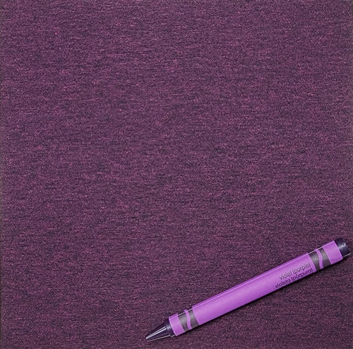 Knit H: Violet, Heather Jersey, 92% Rayon 8% Spandex, $9.50 per half yard. Made in the USA!