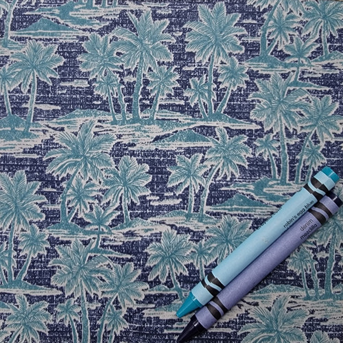 A92 Hawaiian Lawn Palm Tree Island: $9.50 half yd, $19. per yd. To purchase hand-dyed artisan buttons that coordinate with this fabric select the button image and size on bottom left of product page.