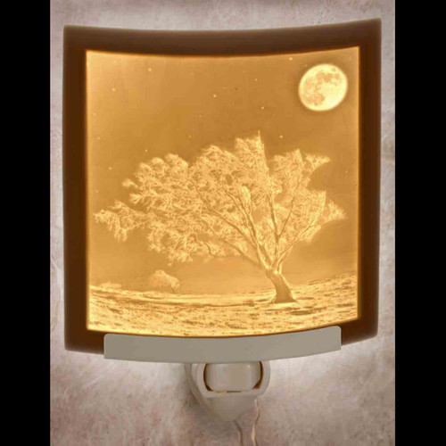 Frosty Moon curved lithophane night light
