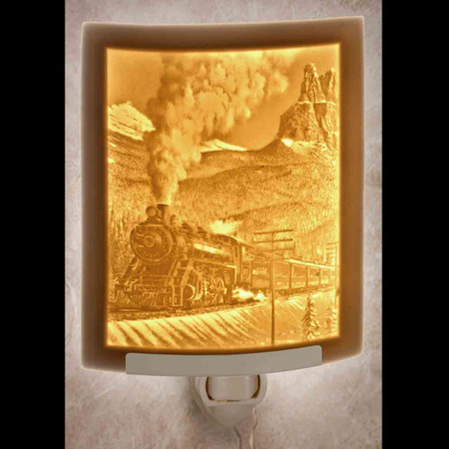 STEAM TRAIN PORCELAIN LITHOPHANE NIGHT LIGHT