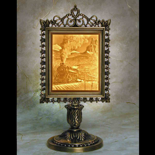 STEAM TRAIN VICTORIAN LITHOPHANE ACCENT LAMP