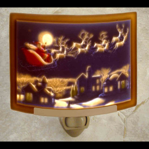 Curved colored Santa's Flight Lithophane Night Light
