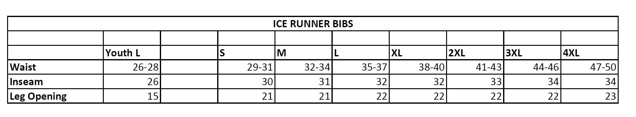 float bib size chart