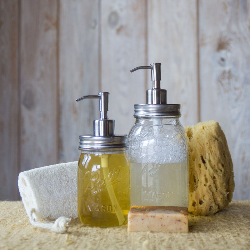 Soap Dispenser - Mason Jar - Stainless Steel